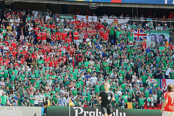 PARIS, FRANCE - Saturday, June 25, 2016: Wales and Northern Ireland supporters together during the Round of 16 UEFA Euro 2016 Championship match at the Parc des Princes. (Pic by David Rawcliffe/Propaganda)