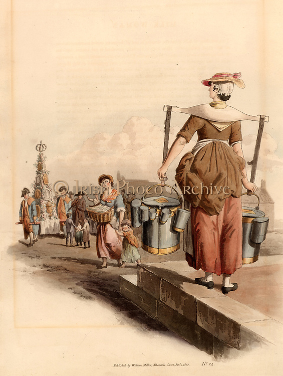 London Milk Woman. She is carrying milk in pewter pails suspended from wooden yoke, and hanging from the pails are vessels of various official capacities from measuring out the milk for her customers.  These vessels would be tested and stamped by the authorities to ensure that short measure was not given.  In the background is a pyramid of vessels decorated with ribbons and flowers being carried through the streets of London accompanied by a fiddler, an ancient custom revived for the first few days of May each year.  From 'Costume of Great Britain' by William Henry Pyne (London, 1808). Aquatint.