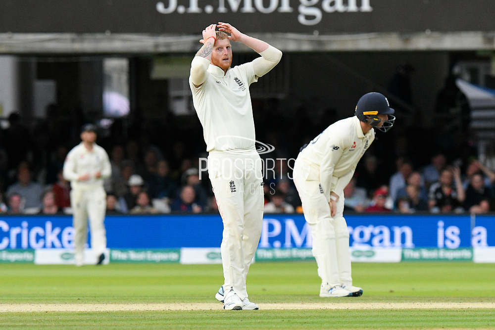Ben Stokes of England reacts after a catch was dropped during the International Test Match 2019 match between England and Australia at Lord's Cricket Ground, St John's Wood, United Kingdom on 18 August 2019.