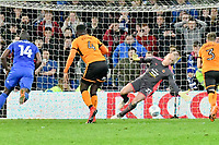 Football - 2017 / 2018 Sky Bet Championship - Cardiff City vs. Wolverhampton Wanderers<br /> <br /> John Ruddy of Wolverhampton Wanderers  saves the penalty taken by Gary Madine  of Cardiff City in the 94th minute, the first of two penalties in the final minutes of the game  of Gary Madine  of Cardiff City, at Cardiff City Stadium.<br /> <br /> COLORSPORT/WINSTON BYNORTH