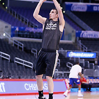 18 February 2014:  San Antonio Spurs point guard Nando de Colo (25) warms up prior to the San Antonio Spurs 113-103 victory over the Los Angeles Clippers at the Staples Center, Los Angeles, California, USA.