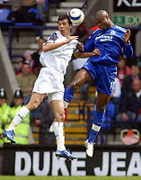 Photo: Paul Thomas.<br /> Bolton Wanderers v Chelsea. The Barclays Premiership. 15/04/2006.<br /> <br /> Bloton's Jared Borgetti (L) and Chelsea's William Gallas go for the ball.
