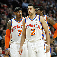 12 March 2012: New York Knicks small forward Carmelo Anthony (7), New York Knicks guard Landry Fields (2), New York Knicks power forward Amare Stoudemire (1), are seen during the Chicago Bulls 104-99 victory over the New York Knicks at the United Center, Chicago, Illinois, USA.