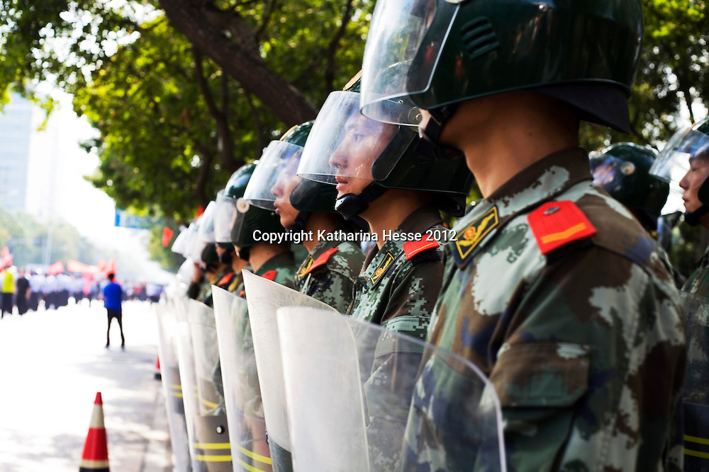 BEIJING, SEPTEMBER-15 :  Chinese para-military police stand outside the Japanese Embassy  during an anti-Japanese protest  over the disputed Diaoyu Islands. Protests have taken place across China in a dispute that is becoming increasingly worrying for regional stability.