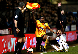 Uche Ikpeazu of Cambridge United, Tyler Denton of Leeds United and Cambridge United manager Shaun Derry all appeal to the linesman for a throw in - Mandatory by-line: Robbie Stephenson/JMP - 09/01/2017 - FOOTBALL - Cambs Glass Stadium - Cambridge, England - Cambridge United v Leeds United - FA Cup third round