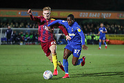 AFC Wimbledon defender Paul Osew (37) battles for possession during the EFL Sky Bet League 1 match between AFC Wimbledon and Ipswich Town at the Cherry Red Records Stadium, Kingston, England on 11 February 2020.