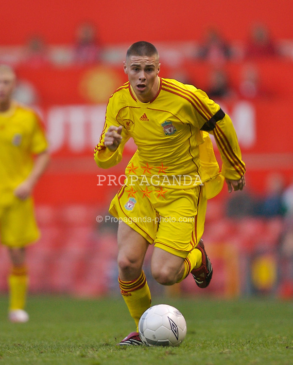 Manchester, England - Thursday, April 26, 2007: Liverpool's Charlie Barnett in action against Manchester United during the FA Youth Cup Final 2nd Leg at Old Trafford. (Pic by David Rawcliffe/Propaganda)