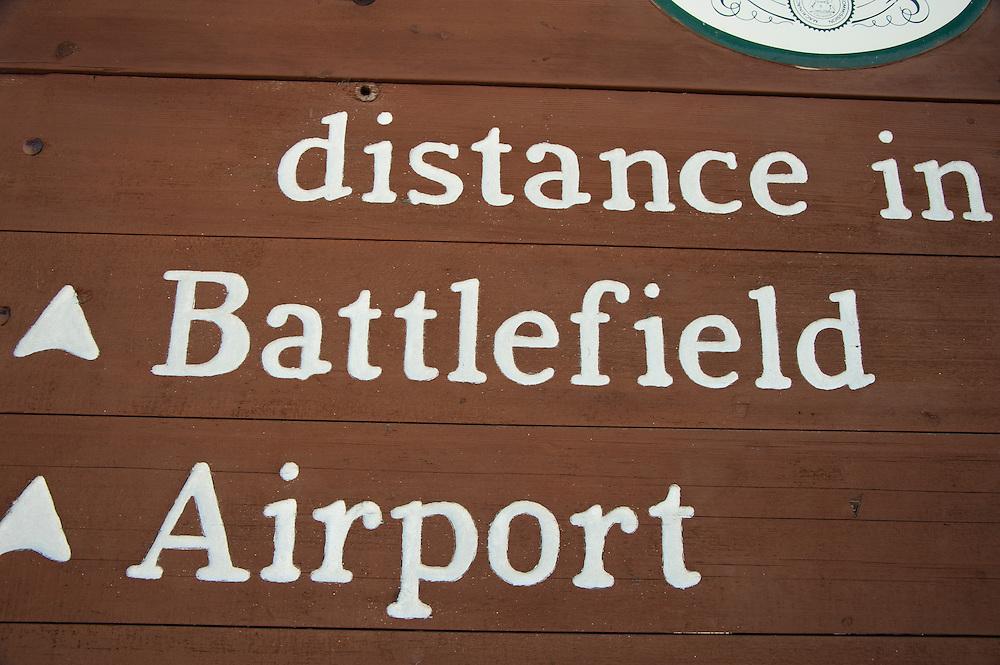 Street markers denote the War of 1812 history on Mackinac Island Michigan.