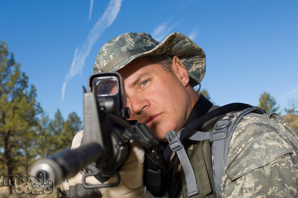 Soldier aiming machine guns, close-up