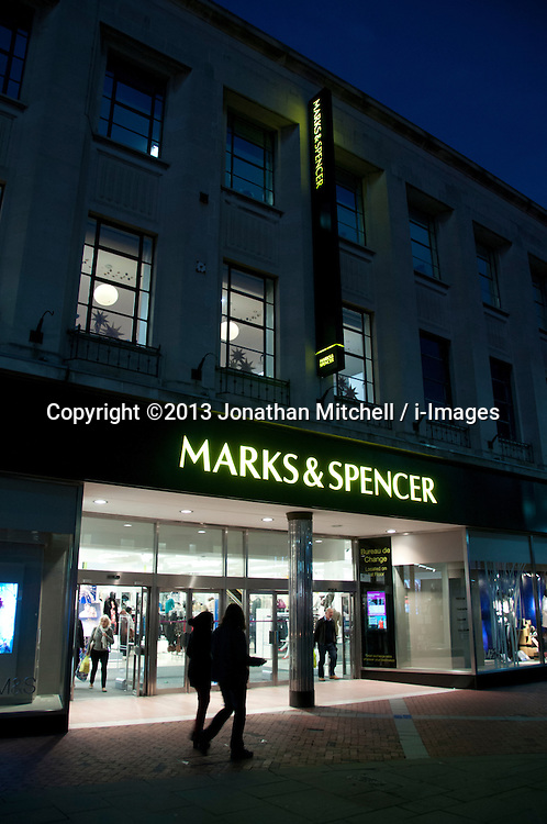 Marks and Spencer entrance, Reading, Berkshire, England, 13 November 2013. Picture by Jonathan Mitchell / i-Images