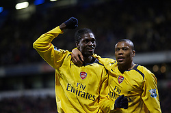 Bolton, England - Wednesday, February 14, 2007: Arsenal's Emmanuel Adebayor celebrates scoring the third goal against Bolton Wanderers with team-mate Julio Baptista during the FA Cup 4th Round Replay at the Reebok Stadium. (Pic by David Rawcliffe/Propaganda)