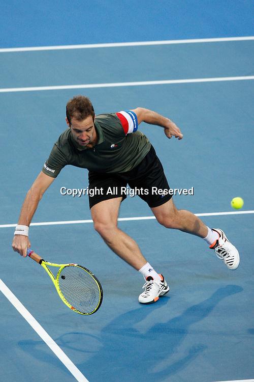 07.01.2017. Perth Arena, Perth, Australia. Mastercard Hopman Cup International Tennis tournament. Richard Gasquet (FRA) plays a half volley at the net against Jack Sock (USA) during the Final. Gasquet won 6-3, 5-7, 7-6.