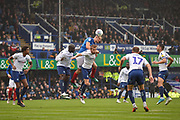 Portsmouth Defender, Matt Clarke (5) wins a header during the EFL Sky Bet League 1 match between Portsmouth and Wycombe Wanderers at Fratton Park, Portsmouth, England on 22 September 2018.