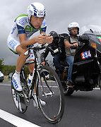 FRANCE, SATURDAY 28th JULY 2007:  Stage 19 Cognac - Angouleme, 55.5 km time trial. A TV motorbike follows Freddy Bichot (Agritubel) with approximately 17km to go to the finish.