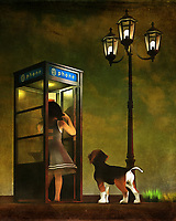 Are Amy and her beagle Buddy lost? That might be the case in this lovely street scene, which depicts Amy and Buddy in a phone booth. Buddy is paying rapt attention, but he doesn't seem to be too concerned. Nor does Amy. Perhaps, they have just gotten a little off the beaten path. With the streetlights on over their heads, we can guess the early evening is settling in. This piece is noted for the deep tones that create the sky, and for the body language that tells us what's going on with Amy and Buddy. This piece is available in the form of interior products, wall art, and t-shirts. .<br />