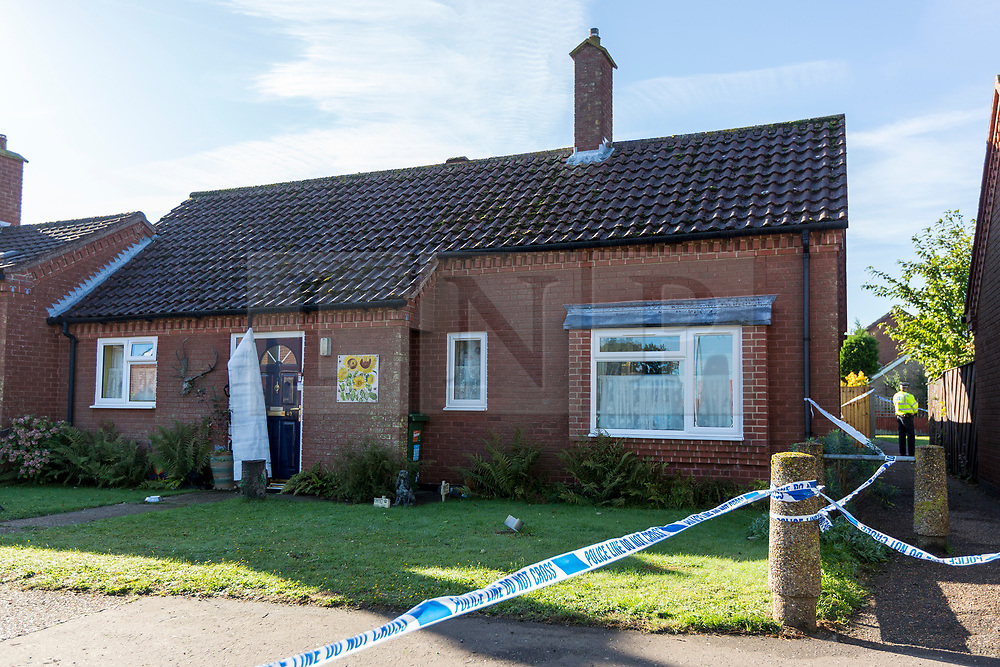 © Licensed to London News Pictures. 24/09/2018. Brooke UK. Police remain at the scene in the village of Brooke this morning where the body of a woman was found yesterday 23/09/2018. A man in his 80's has been arrested on suspicion of murder, officers were called to the property in Churchill Place, Brooke at around 10:30am to reports a woman had been stabbed, they discovered the body of a woman who was pronounced dead at the scene. Photo credit: Andrew McCaren/LNP