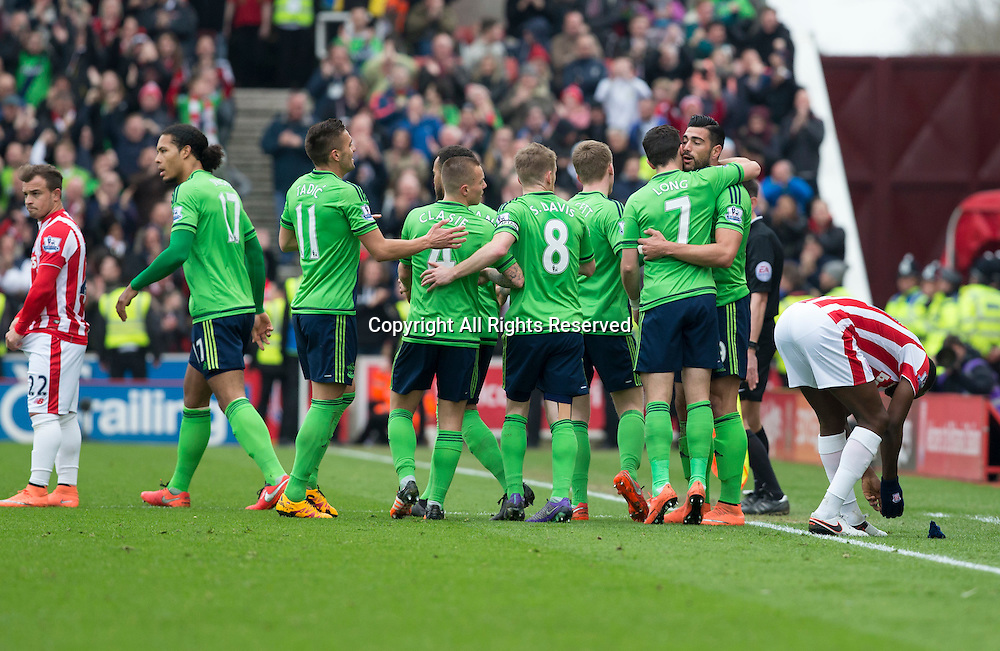 12.03.2016. Britannia Stadium, Stoke, England. Barclays Premier League. Stoke City versus Southampton. Southampton striker Graziano Pelle celebrates with his team mates after scoring the opening goal of the match in the 11th minute.