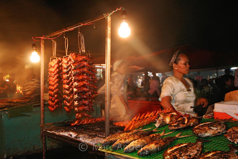 Night food market in Kota Kinabalu, Sabah, Malaysia.