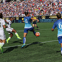 ORLANDO, FL - OCTOBER 25: Crystal Dunn #25 of USWNT scores a goal during a women's international friendly soccer match between Brazil and the United States at the Orlando Citrus Bowl on October 25, 2015 in Orlando, Florida. (Photo by Alex Menendez/Getty Images) *** Local Caption *** Crystal Dunn