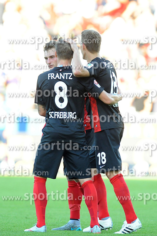 28.08.2015, Mage Solar Stadion, Freiburg, GER, 2. FBL, SC Freiburg vs SV 1916 Sandhausen, 5. Runde, im Bild Jubel bei (l.) Mike Frantz (SC Freiburg) (r.) Nils Petersen (SC Freiburg) // during the 2nd German Bundesliga 5th round match between SC Freiburg and SV 1916 Sandhausen at the Mage Solar Stadion in Freiburg, Germany on 2015/08/28. EXPA Pictures &copy; 2015, PhotoCredit: EXPA/ Eibner-Pressefoto/ Laegler<br /> <br /> *****ATTENTION - OUT of GER*****