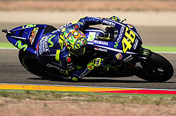 September 23, 2017 - Alcaiz, Spain - Italian rider Valentino Rossi of Movistar Yamaha MotoGP, in action during the Gran Premio Movistar de Aragon Qualifying on September 23, 2017 in Alcaiz, Spain. (Credit Image: © Joan Cros/NurPhoto via ZUMA Press)