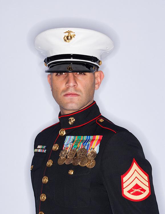 Portrait of Staff Sargent J. Menes, USMC in his dress blues