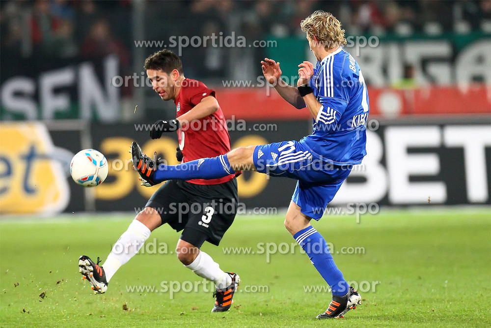 10.12.2011, AWD Arena, Hannover, GER, 1.FBL, Hannover 96 vs Bayer 04 Leverkusen, im Bild Karim Haggui (Hannover 96) im Zweikampf mit Stefan Kiessling (Bayer 04 Leverkusen) // during the Match GER, 1.FBL, Hannover 96 vs Bayer 04 Leverkusen, AWD Arena, Hannover, Germany, on 2011/12/10. EXPA Pictures © 2011, PhotoCredit: EXPA/ nph/ SielskiSielski..***** ATTENTION - OUT OF GER, CRO *****