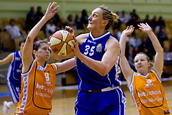 Rankica Sarenac of Merkur between Eva Komplet and Sasa Panic of HIT at 4th final match of Slovenian women basketball 1st league between Hit Kranjska Gora and ZKK Merkur Celje, on May 13, 2010, in Arena Vitranc, Kranjska Gora, Slovenia. Celje defeated Kr. Gora 71-60 and the result after 4th match is 2-2. (Photo by Vid Ponikvar / Sportida)