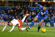 Birmingham City midfielder David Davis (26) shales off Barnsley midfielder Josh Scowen (6) 0-0 during the EFL Sky Bet Championship match between Birmingham City and Barnsley at St Andrews, Birmingham, England on 3 December 2016. Photo by Alan Franklin.
