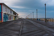 The Asbury Park boardwalk on a rainy morning