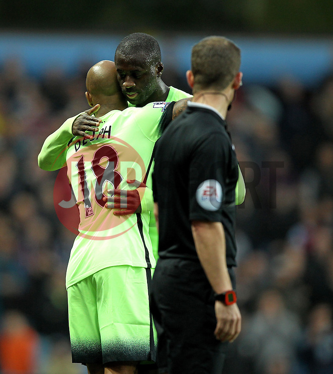 Manchester City's Yaya Toure hugs Manchester City's Fabian Delph as the latter comes on to the pitch at Villa Park - Mandatory byline: Robbie Stephenson/JMP - 07966 386802 - 08/11/2015 - FOOTBALL - Villa Park - Birmingham, England - Aston Villa v Manchester City - Barclays Premier League
