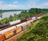 Kansas USA freight trains elevated view