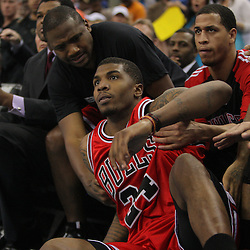 Jan 29, 2010; New Orleans, LA, USA; Chicago Bulls forward Tyrus Thomas (24) slides into the Bulls bench after chasing down a loose ball during the second half against the New Orleans Hornets at the New Orleans Arena. The Bulls defeated the Hornets 108-106 in overtime. Mandatory Credit: Derick E. Hingle-US PRESSWIRE