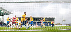 Falkirk's David McCracken scoring their fifth goal,<br /> Falkirk 6 v 0 Cowdenbeath, Scottish Championship game played at The Falkirk Stadium, 25/10/2014.