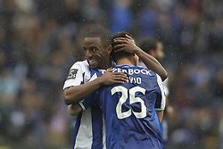 April 8, 2018 - Porto, Aveiro, Portugal - Porto's Brazilian midfielder Otavio celebrates after scoring goal with teammate Porto's Portuguese defender Ricardo Pereira during the Premier League 2017/18 match between FC Porto v CD Aves, at Dragao Stadium in Porto on April 8, 2018. (Credit Image: © Dpi/NurPhoto via ZUMA Press)