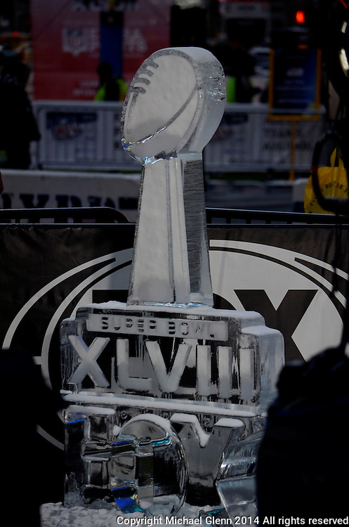 29 Jan 2014 NYC Ice sculpture of the Lombardi Trophy at Superbowl boulevard in NYC //  Michael Glenn