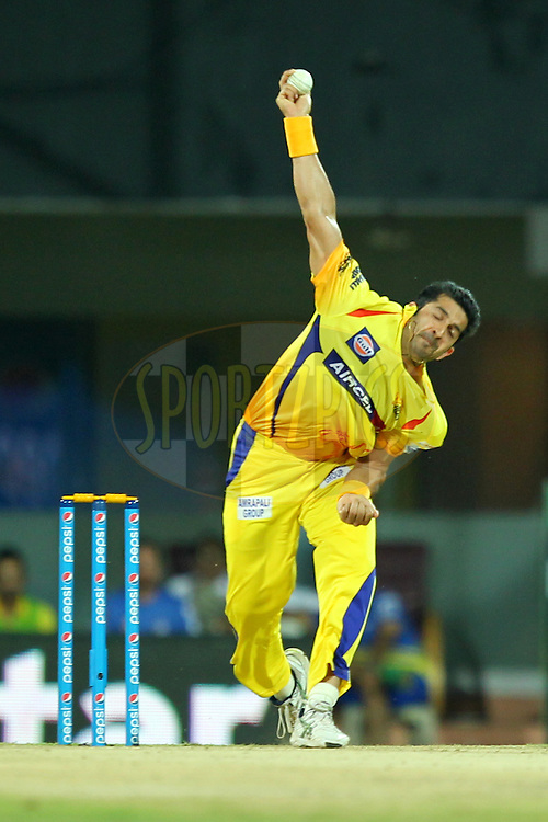 Mohit Sharma of Chennai Super Kings bowls during match 24 of the Pepsi IPL 2015 (Indian Premier League) between The Chennai Superkings and The Kings XI Punjab held at the M. A. Chidambaram Stadium, Chennai Stadium in Chennai, India on the 25th April 2015.Photo by:  Prashant Bhoot / SPORTZPICS / IPL