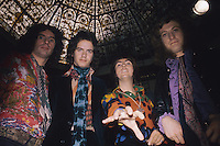 Glam rock group Slade, from left to right, Don Powell, Jimmy Lea, Dave Hill and Noddy Holder, circa 1975.