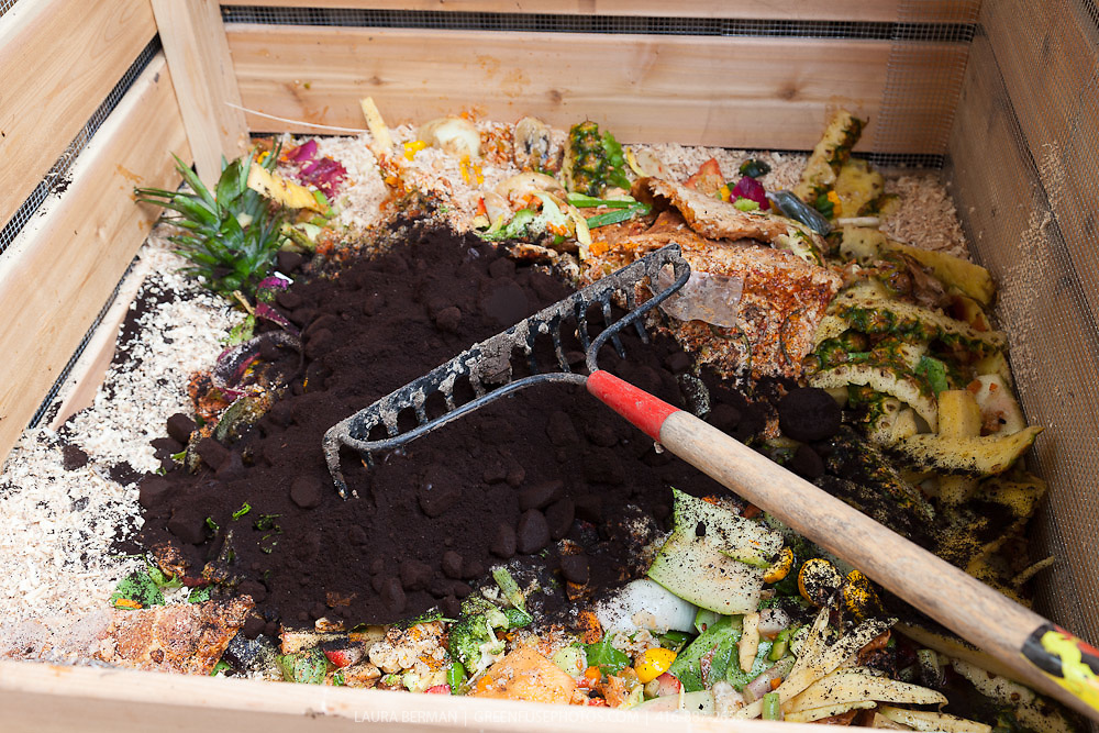Raw ingredients in a compist bin at Will Allen's Compost 101: Growing Power Style