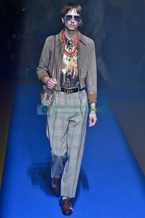 Model Matiss walks on the runway during the Gucci Fashion Show during Milan Fashion Week Spring Summer 2018 held in Milan, Italy on September 20, 2017. (Photo by Jonas Gustavsson/Sipa USA)