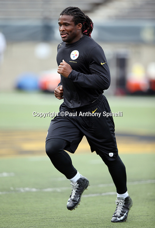 Pittsburgh Steelers running back DeAngelo Williams (34) warms up before the 2015 NFL Pro Football Hall of Fame preseason football game against the Minnesota Vikings on Sunday, Aug. 9, 2015 in Canton, Ohio. The Vikings won the game 14-3. (©Paul Anthony Spinelli)