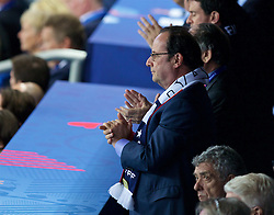 PARIS, FRANCE - Sunday, July 3, 2016: France François Hollande watches the national team take on Iceland during the UEFA Euro 2016 Championship Semi-Final match at the Stade de France. (Pic by Paul Greenwood/Propaganda)c
