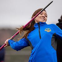 Zuni Thunderbird Diana Ashley competes in the javelin Saturday at Zuni High School.