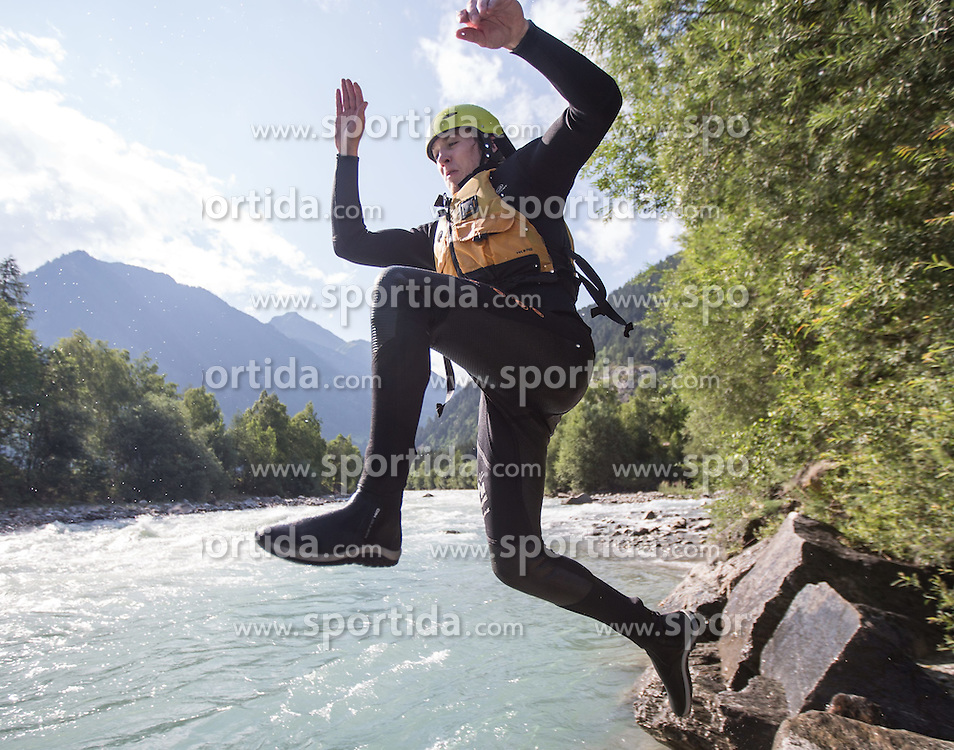 14.07.2015, Ainet, AUT, Eishockey Cracks bei Raftingtour auf der Isel, im Bild Lukas Herzog (EC VSV, EBEL) // Hockey Cracks during a rafting tour on the East Tyrolean glacial river Isel. Ainet, Austria on 2015/07/14. EXPA Pictures © 2015, PhotoCredit: EXPA/ Johann Groder