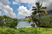 Beach and Puamau valley, on the island of Hiva Oa, in the Marquesas Islands, French Polynesia. Picture by Manuel Cohen