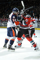 KELOWNA, CANADA, OCTOBER 29: JC Lipon #34  of the Kamloops Blazers gets in the face of Kelowna Rockets #22 Mackenzie Johnston as the Kamloops Blazers visit the Kelowna Rockets  on October 29, 2011 at Prospera Place in Kelowna, British Columbia, Canada (Photo by Marissa Baecker/Shoot the Breeze) *** Local Caption *** JC Lipon;Mackenzie Johnston;