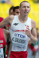 Krystian Zalewski from Poland competes in men's 3000 meters qualification during the 14th IAAF World Athletics Championships at the Luzhniki stadium in Moscow on August 12, 2013.<br /> <br /> Russian Federation, Moscow, August 12, 2013<br /> <br /> Picture also available in RAW (NEF) or TIFF format on special request.<br /> <br /> For editorial use only. Any commercial or promotional use requires permission.<br /> <br /> Mandatory credit:<br /> Photo by © Adam Nurkiewicz / Mediasport
