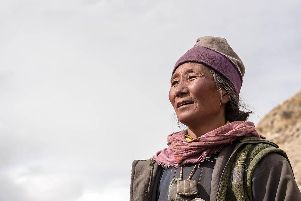 A Rupshu nomad woman on Ladakh's Changtang plateau