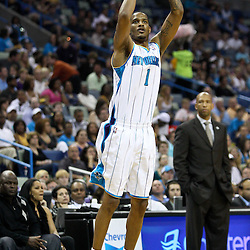 April 8, 2011; New Orleans, LA, USA; New Orleans Hornets small forward Trevor Ariza (1) shoots against the Phoenix Suns during the first quarter at the New Orleans Arena.  Mandatory Credit: Derick E. Hingle