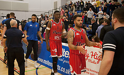 Bristol Flyers shake hands with the Cheshire Phoenix after their win - Photo mandatory by-line: Jack Phillips/JMP - 25/11/2018 - BASKETBALL - Ellesmere Port Arena - Ellesmere Port, England - Cheshire Phoenix v Bristol Flyers - {event}